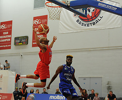 Cardell McFarland of Bristol Flyers is fouled. - Mandatory byline: Alex James/JMP - 07966 386802 - 26/09/2015 - FOOTBALL - SGS Wise Campus - Bristol, England - Bristol Flyers v Cheshire Phoenix - British Basketball League
