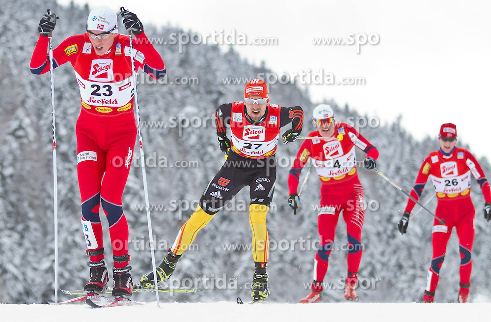 19.12.2011, Casino Arena, Seefeld, AUT, FIS Nordische Kombination, Langauf 10 km, im Bild Magnus Krog (NOR) // Magnus Krog of Norway Bjoern Kircheisen (GER) // Bjoern Kircheise of Germany during the cross-country skiing 10 km at FIS Nordic Combined World Cup in Sefeld, Austria on 20111211. EXPA Pictures © 2011, PhotoCredit: EXPA/ P.Rinderer