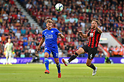 Leicester City Midfielder, Marc Albrighton (11) and AFC Bournemouth Midfielder, Dan Gosling (4) during the Premier League match between Bournemouth and Leicester City at the Vitality Stadium, Bournemouth, England on 15 September 2018.