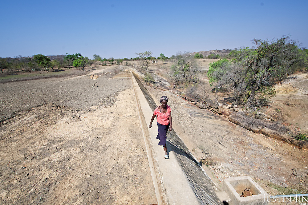 A Zimbabwean woman walks across a dried out dammed reservoir in Masvingo Province, Zimbabwe. <br /> <br /> Drought in southern Africa is devastating communities in Zimbabwe, leaving 4 million people urgently in need of food aid. The government declared a state of emergency,. <br /> <br /> Here in Masvingo Province, the country's hardest hit province, vegetation has wilted, livestock is dying, and people are at serious risk of famine. <br /> <br /> Pictures shot by Justin Jin