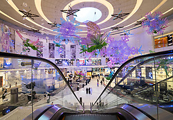 Dubai Mall fashion atrium decorated for Christmas  in Downtown Dubai, United Arab Emirates