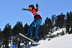 Snowboarder Cross Action, SALT Michelle, CAN at the 2016 IPC Snowboard Europa Cup Finals and World Cup