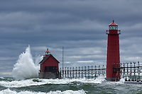 High winds at the end of october sent waves crashing into the lighthouses in Grand haven.