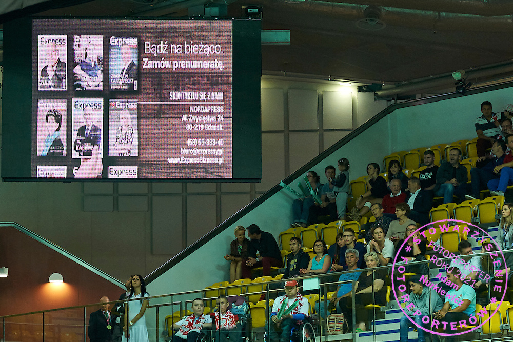Advertise display during Davis Cup Tie World Group Play-off Poland v Slovakia at Gdynia Arena Hall in Gdynia, Poland.<br /> <br /> Poland, Gdynia, September 18, 2015<br /> <br /> Picture also available in RAW (NEF) or TIFF format on special request.<br /> <br /> For editorial use only. Any commercial or promotional use requires permission.<br /> <br /> Adam Nurkiewicz declares that he has no rights to the image of people at the photographs of his authorship.<br /> <br /> Mandatory credit:<br /> Photo by &copy; Adam Nurkiewicz / Mediasport