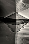 Black and white reflection of a fishing boat bow at Wancheese NC Outer Banks.