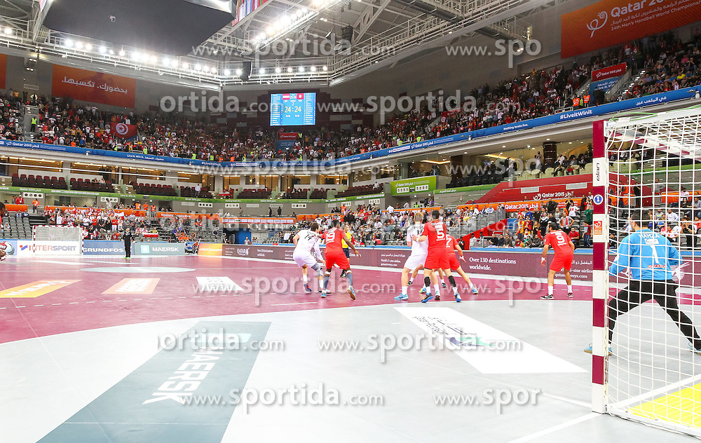 19.01.2015, Ali Bin Hamad Al Attiyah Arena, Doha, QAT, IHF, Handball Weltmeisterschaft der Herren, Gruppe B, Österreich vs Tunesien, im Bild die Arena // during the IHF Handball World Championship group B match between Austria and Tunisia at the Ali Bin Hamad Al Attiyah Arena, Doha, Qatar on 2015/01/19. EXPA Pictures © 2015, PhotoCredit: EXPA/ Sebastian Pucher