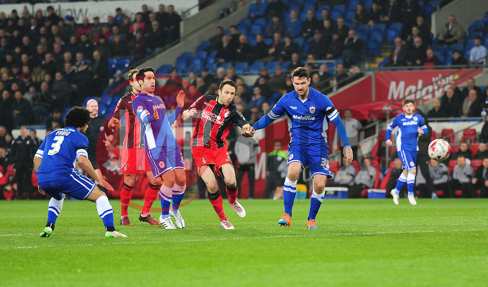 Bournemouth's Marc Pugh hits the crossbar. - Photo mandatory by-line: Alex James/JMP - Mobile: 07966 386802 - 17/03/2015 - SPORT - Football - Cardiff - Cardiff City Stadium - Cardiff City v AFC Bournemouth - Sky Bet Championship