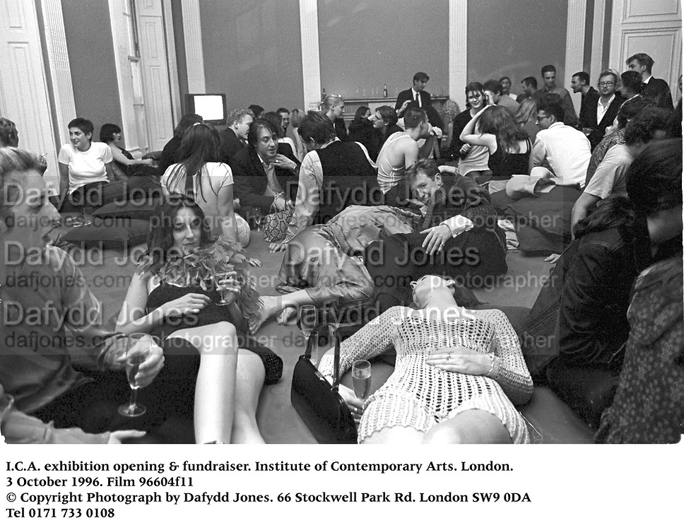 Large mattress exhibit at I.C.A. & fundraiser. Institute of Contemporary Arts. London.<br /> 3 October 1996. Film 96604f11<br /> © Copyright Photograph by Dafydd Jones<br /> 66 Stockwell Park Rd. London SW9 0DA<br /> Tel 0171 733 0108