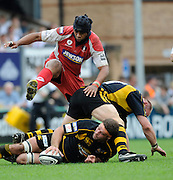 Wycombe, GREAT BRITAIN, Gloucesters', Akapusi QERA, steps over the ruck, during the Guinness Premiership game, London Wasps vs Gloucester Rugby, Sun. 04.05.2008 [Mandatory Credit Peter Spurrier/Intersport Images]