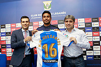 CD Leganes' new player Mauro Dos Santos (c) with the Managing Director Martin Ortega (l) and the Sports Director Chema Indias during his official presentation.  July 27, 2016. (ALTERPHOTOS/Acero)