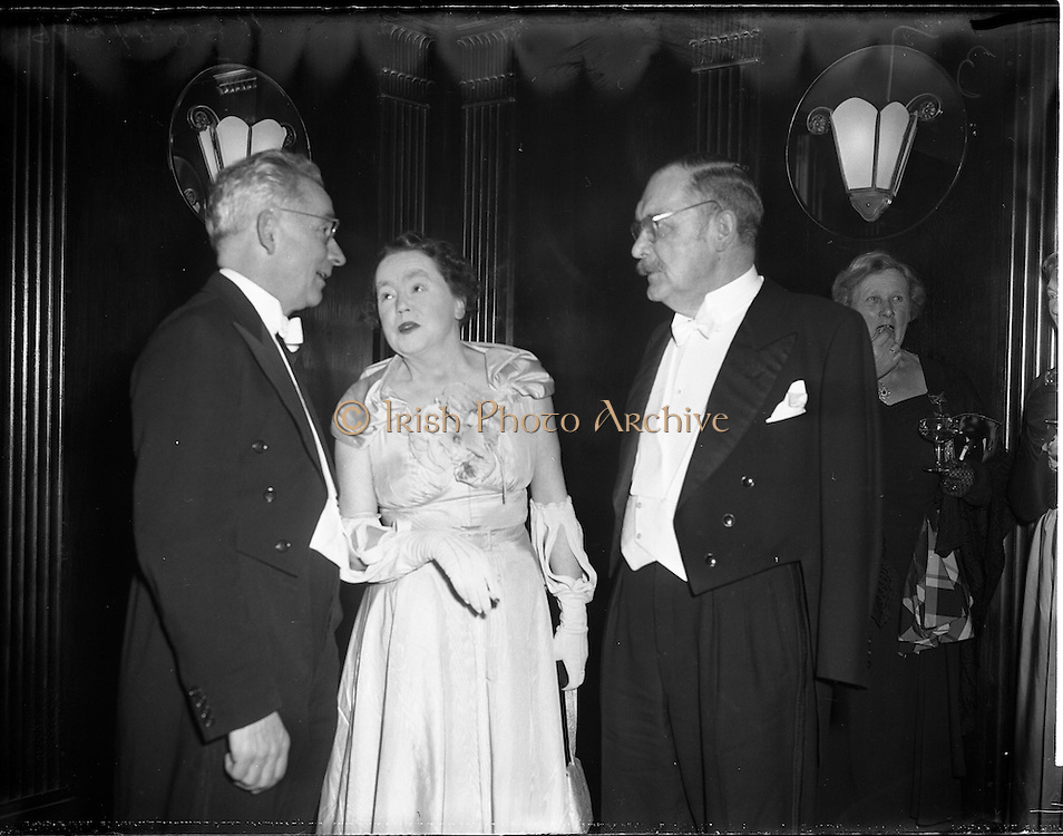 04/01/1956<br /> 01/04/1956<br /> 04 January 1956<br /> Reception by German Minister to Ireland Dr. Hermann Katzenberger for the Irish-German Society at the Gresham Hotel, Dublin.  Ambassador on right.
