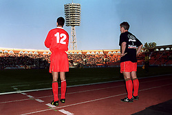 MINSK, BELARUS - Saturday, September 4, 1999: Wales's manager Mark Hughes prepares to bring on substitute Anthony Delaney.during the UEFA Euro 2000 Qualifying Group One match against Belarus at the Dinamo Stadium. (Mandatory credit: David Rawcliffe/Propaganda)