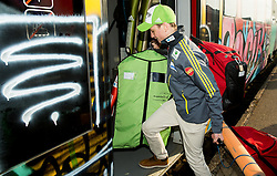 Anze Lanisek prior to the departure of a train Ljubljana - Jesenice where will be placed press conference of Slovenian Ski jumping team, on March 18, 2015 in Ljubljana train station, Slovenia. Photo by Vid Ponikvar / Sportida