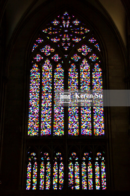 Window with stained glass in Cologne Cathedral, Germany