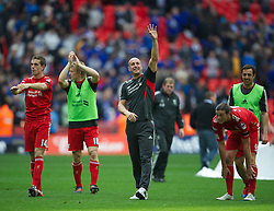 LONDON, ENGLAND - Saturday, April 14, 2012: Liverpool's goalkeeper Jose Reina celebrates his side's 2-1 victory over Everton during the FA Cup Semi-Final match at Wembley. (Pic by David Rawcliffe/Propaganda)