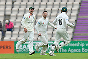 Wicket - Daryl Mitchell of Worcestershire celebrates taking the wicket of Liam Dawson of Hampshire during the Specsavers County Champ Div 1 match between Hampshire County Cricket Club and Worcestershire County Cricket Club at the Ageas Bowl, Southampton, United Kingdom on 13 April 2018. Picture by Graham Hunt.