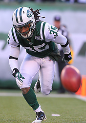 Dec 24, 2011; East Rutherford, NJ, USA; New York Jets cornerback Isaiah Trufant (35) chases after a punt during the first half of their game against the New York Giants at MetLife Stadium.