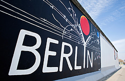 Murals painted on Berlin Wall at the East Side Gallery in Friedrichshain in Berlin