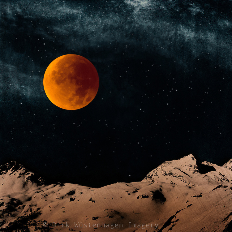 Bloodmoon over snow capped Alps - manipulated photograph<br />