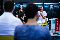 Aljaz Bedene Slovenian Tennis Player with Gasper Bolhar during ATP Press conference with Aljaz Bedene, on July 25th, 2019, in Ljubljansko kopalisce Kolezija, Ljubljana, Slovenia. Photo by Grega Valancic / Sportida