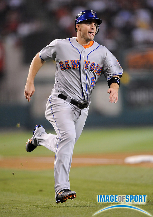 Jun 16, 2008; Anaheim, CA, USA; New York Mets third baseman David Wright (5) scores in the seventh inning of 9-6 victory over the Los Angeles at Angel Stadium. Mandatory Credit: Kirby Lee/Image of Sport-US PRESSWIRE