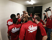 The Hoosiers gather together in the hallway by their dressing room before taking the floor against the Greyhounds. Indiana hosted the University of Indianapolis in a preseason game at Assembly Hall on Monday, November 10, 2014.