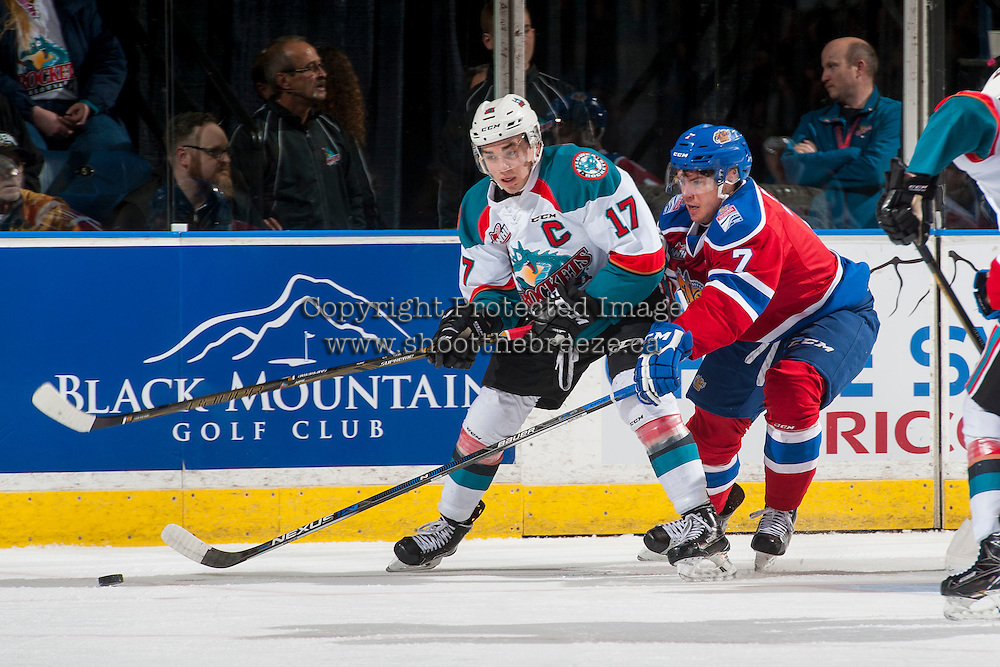 KELOWNA, CANADA - FEBRUARY 22: Rodney Southam #17 of the Kelowna Rockets is back checked by Jordan Dawson #7 of the Edmonton Oil Kings during first period on February 22, 2017 at Prospera Place in Kelowna, British Columbia, Canada.  (Photo by Marissa Baecker/Shoot the Breeze)  *** Local Caption ***