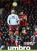Mahmoud Hassan (17) of Aston Villa battles for possession with Philip Billing (29) of AFC Bournemouth during the Premier League match between Bournemouth and Aston Villa at the Vitality Stadium, Bournemouth, England on 1 February 2020.