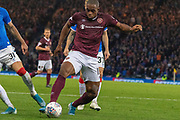 Uche Ikpeazu of Hearts breaks into the rangers penalty area during the Betfred Scottish League Cup semi-final match between Rangers and Heart of Midlothian at Hampden Park, Glasgow, United Kingdom on 3 November 2019.