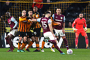 Aston Villa midfielder Mile Jedinak (15) takes a free kick  during the EFL Sky Bet Championship match between Hull City and Aston Villa at the KCOM Stadium, Kingston upon Hull, England on 31 March 2018. Picture by Mick Atkins.
