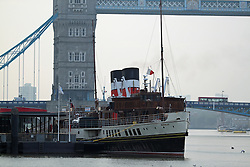 © Licensed to London News Pictures. 28/09/2013. The last sea going paddle steamer in the world, The Waverley, sets off on her first Thames excursion of the season. The famous vessel was built in the 1940s and is the last of her kind. She is owned and run by volunteers and the Paddle Steamer Preservation Society warned earlier in the year her future could be in doubt if more people didn't use her. She will remain on the Thames until Mid October. She Credit : Rob Powell/LNP