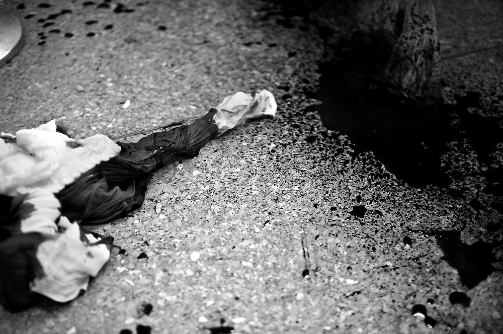 A detail of the Perez Leon hospital emergency room's floor in Petare. The Petare slum is one of the most violent areas of Caracas, Venezuela, reporting over a dozen homicides every weekend. According to the ngo, the Venezuelan Observatory of Violence (OVV), Caracas has one of the highest violent crime rates in the world, with two people murdered every hour, a homicide rate that has quadrupled over the eleven year presidency of Hugo Chavez. Equally disturbing is the level of impunity, corruption and incompetency in the Venezuelan judicial system. OVV reports that 91% of crimes go unsolved in Venezuela.