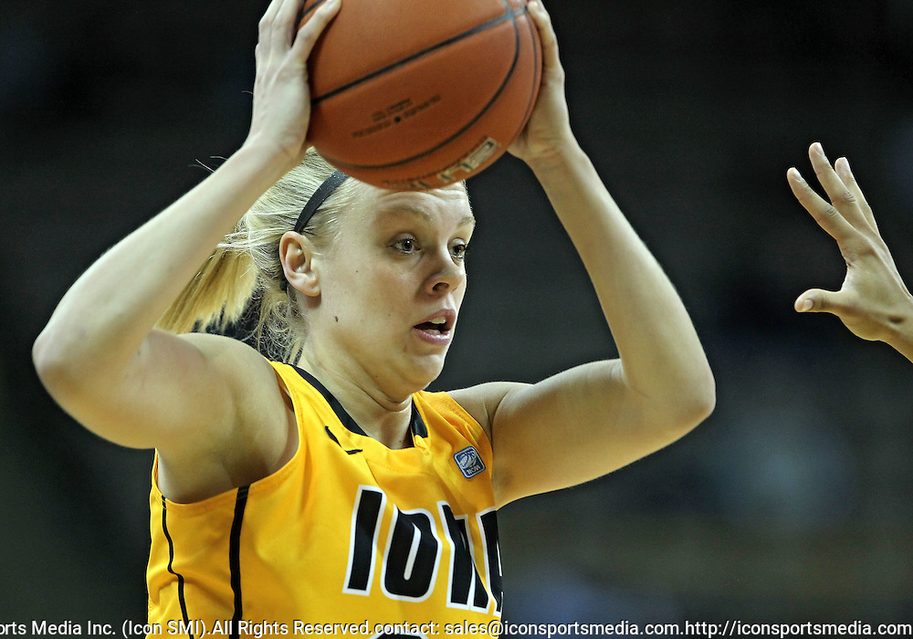 December 20, 2011: Iowa Hawkeyes guard Jaime Printy (24) looks to pass during the NCAA women's basketball game between the Drake Bulldogs and the Iowa Hawkeyes at Carver-Hawkeye Arena in Iowa City, Iowa on Tuesday, December 20, 2011. Iowa defeated Drake 71-46.