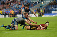 Greg Bird of Catalans Dragons dives over to score during the Ladbrokes Challenge Cup match at the John Smiths Stadium, Huddersfield<br /> Picture by Richard Land/Focus Images Ltd +44 7713 507003<br /> 31/05/2018