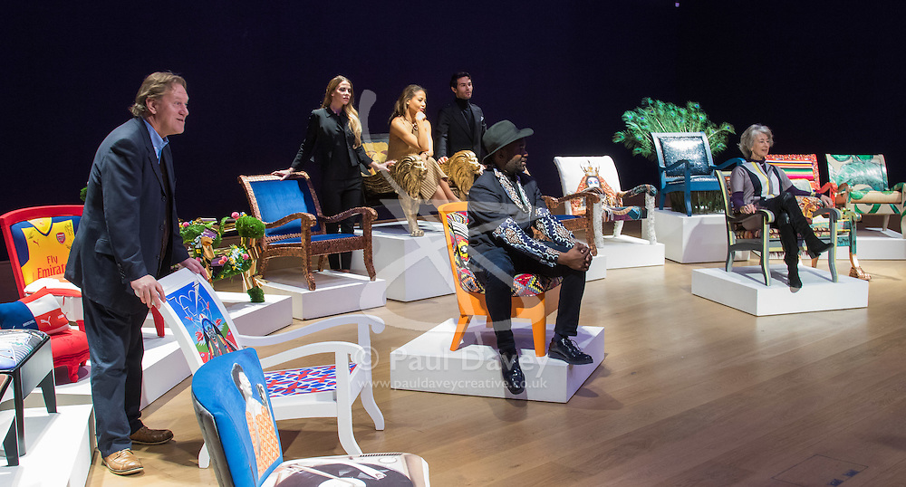 """Bonhams, London, February 29th 2016. L-R Atrist David Bent, Victoria Baker-Harber, Emma - Viscountess Weymouth of Longleat, Mark Francis Vandelli, Samson Soboye and actress Maureen Lipman during a photocall for """"Sitting Pretty"""", featuring unique, hand painted and upholstered chairs made by 30 celebrities and artists, at Bonhams ahead of their auction in support of a leading AIDS charity, CHIVA Africa.<br /> ©Paul Davey<br /> FOR LICENCING CONTACT: Paul Davey +44 (0) 7966 016 296 paul@pauldaveycreative.co.uk"""