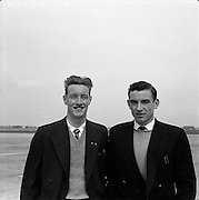 23/05/1957<br /> 05/23/1957<br /> 23 May 1957<br /> F.A.I. Youths team for tour of Germany.<br /> (left) Bobby Brown (Cork); (right) Donal Leahy (Cork).