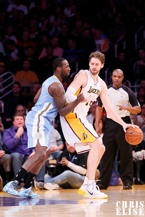 05 January 2014: Los Angeles Lakers center Pau Gasol (16) posts up Denver Nuggets power forward J.J. Hickson (7) during the Denver Nuggets 137-115 victory over the Los Angeles Lakers at the Staples Center, Los Angeles, California, USA.