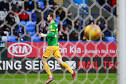 Preston North End forward Tom Barkhuizen (29) runs to celebrate as his shot hits the back of the net during the EFL Sky Bet Championship match between Bolton Wanderers and Preston North End at the University of  Bolton Stadium, Bolton, England on 9 February 2019.