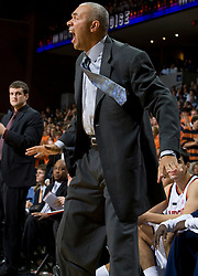 Virginia head coach Dave Leitao reacts to a play on the sidelines.  The #23 Virginia Cavaliers men's basketball team faced the Drexel Dragons  at the John Paul Jones Arena in Charlottesville, VA on November 20, 2007.