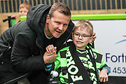 Forest Green Rovers manager, Mark Cooper with mascot during the EFL Sky Bet League 2 match between Forest Green Rovers and Exeter City at the New Lawn, Forest Green, United Kingdom on 4 May 2019.