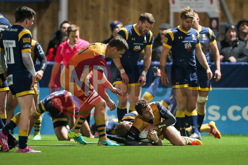 Jack Wallace of Bristol Rugby scores a try - Rogan Thomson/JMP - 04/11/2016 - RUGBY UNION - Sixways Stadium - Worcester, England - Worcester Warriors v Bristol Rugby - The Anglo Welsh Cup.