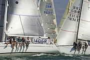 "The Elan 37 ""Elaine"", IRC Class 4, power over the start line on the opening Day 1 of Skandia Cowes Week 2006"