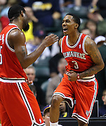 April 01, 2011; Indianapolis, IN, USA; Milwaukee Bucks point guard Brandon Jennings (3) reacts after a shot against the Indiana Pacers at Conseco Fieldhouse. Indiana defeated Milwaukee 89-88. Mandatory credit: Michael Hickey-US PRESSWIRE