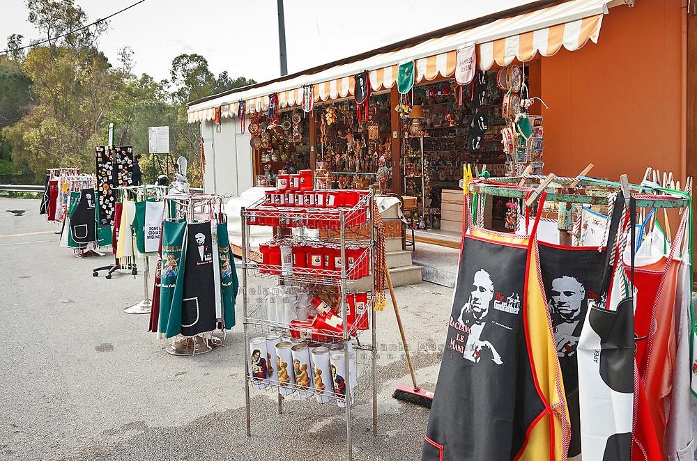 Palermo, sanctuary of Saint Rosalia, stand of souvenir.<br /> Palermo,bancarelle vicino il santuario di Santa Rosalia.