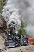 Originally built in 1880, The Cumbres & Toltec Scenic Railroad's steam powered train rides 64-miles of narrow gauge tracks between Antonito, Colorado and Chama, New Mexico.