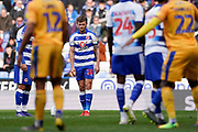 Goal, John Swift of Reading lines up his free kick, Reading 1-1 Wigan Athletic during the EFL Sky Bet Championship match between Reading and Wigan Athletic at the Madejski Stadium, Reading, England on 9 March 2019.