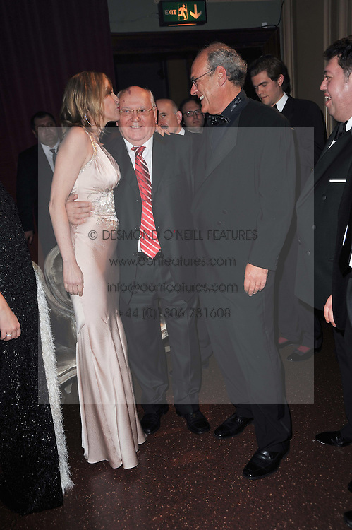 SHARON STONE, MIKHAIL GORBACHEV and ? at a gala eveing to celebrate the 80th birthday of former Soviet leader Mikhail Gorbachev held at The Royal Albert Hall, London on 30th March 2011.