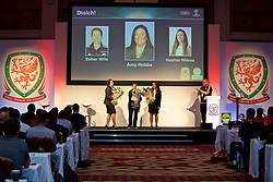NEWPORT, WALES - Sunday, May 28, 2017: Amy Hobbs, Esther Willis and Heather Wilkins are presented with flowers during day three of the Football Association of Wales' National Coaches Conference 2017 at the Celtic Manor Resort. (Pic by David Rawcliffe/Propaganda)
