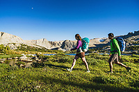 Backpackers Kaitlyn Honnold and Chris Call explore the Stough Lakes area of the Wind River Range, Wyoming.