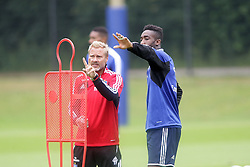 04.07.2013, Imtech Arena, Hamburg, GER, 1. FBL, Hamburger SV, Training, im Bild Trainer Thorsten Fink und Johan Djourou (HSV),, , // during a Trainingsession of German Bundesliga Club Hamburger SV at the Imtech Arena, Hamburg, Germany on 2013/07/04. EXPA Pictures © 2013, PhotoCredit: EXPA/ Eibner/ Andre Latendorf<br /> <br /> ***** ATTENTION - OUT OF GER *****